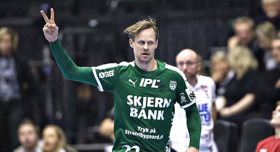 Skjern var bagud mod Nordsjælland, men vandt alligevel. Bo Spellerberg blev topscorer og så rødt for Kolding.(foto: Henning Bagger / Scanpix 2017)