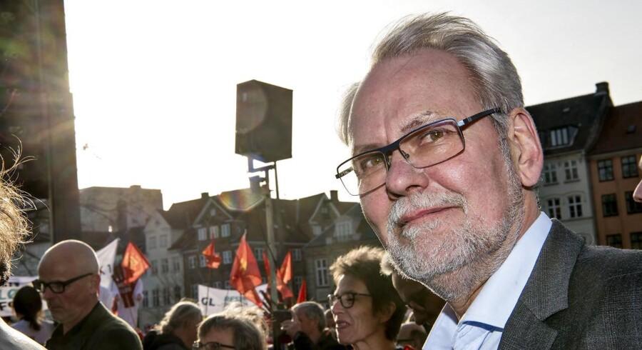 Offentligt ansatte demonstrerer på Bertel Thorvaldsens Plads i København i forbindelse med overenskomstforhandlingerne 2018. Dennis Kristensen Forbundsformand FOA