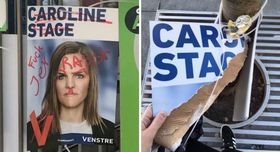 Billeder af de ødelagte valgplakater.