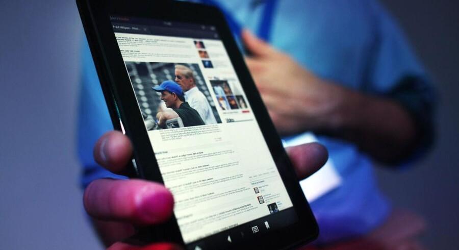 Amazons første tavle-PC, Kindle Fire, blev præsenteret i onsdags. Prisen er under halvdelen af Apples iPad. Foto: Spencer Platt, AFP/Scanpix