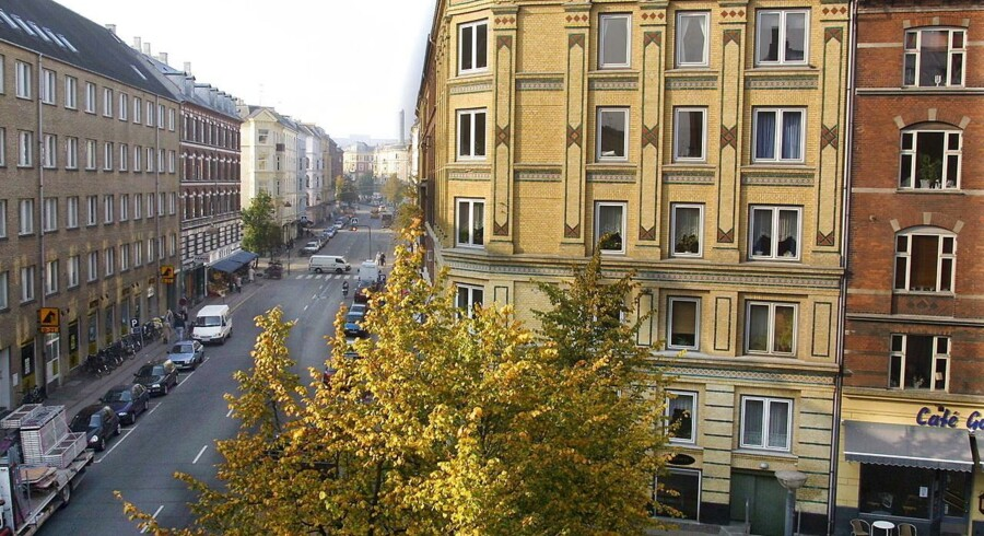 Melchiors plads. Fra de øverste lejligheder er der en flot udsigt over pladsen og op ad Ndr Frihavnsgade mod Trianglen.