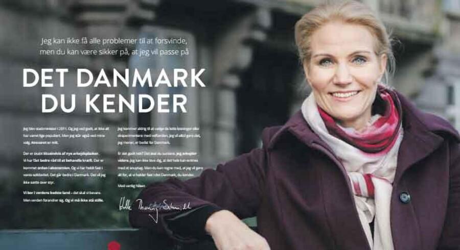 Sammen med billederne hører også en avisannonce, hvor statsministeren blandt andet skriver:»Jeg kommer aldrig til at vælge de lette løsninger eller eksperimentere med velfærden. Jeg vil altid gøre det, jeg mener, er bedst for Danmark.«