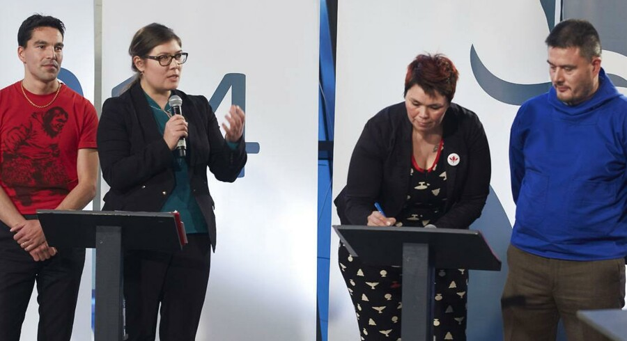 Valgmøde i Nuuk før det grønlandske valg afholdes den 28. Fra venstre: Aqqaluaq B. Egede (IA), Sara Olsvig (IA), Mette Rasmussen (Siumut), Kim Kielsen (Siumut).