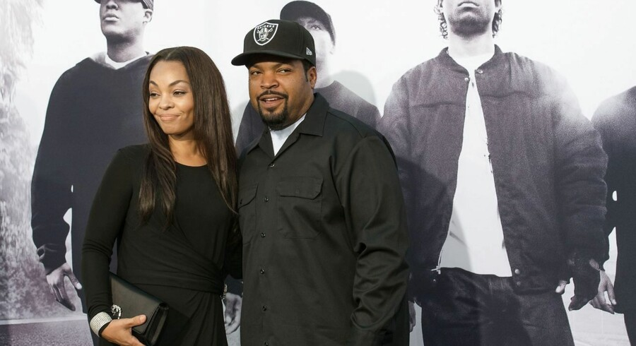 "Kimberly Woodruff (L) and Ice Cube arrive for the Universal Pictures And Legendary Pictures premiere of ""Straight Outta Compton"" on August 10, 2015 in Los Angeles, California. AFP PHOTO / VALERIE MACON"