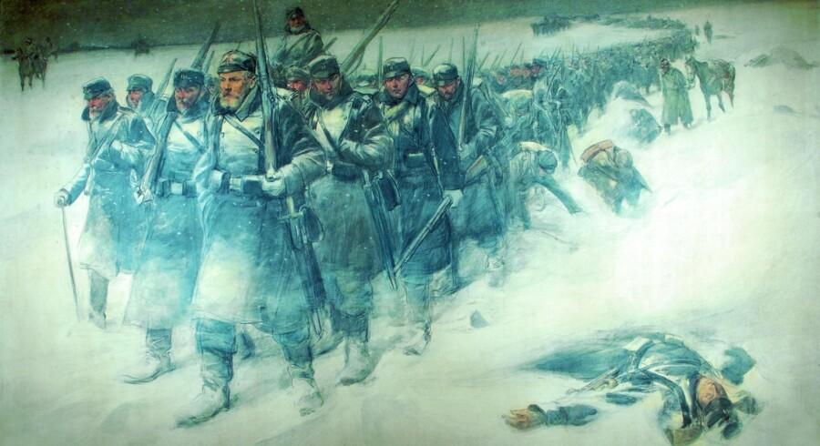 Danske infanterister under tilbagetoget fra Dannevirke natten mellem den 5. og 6. februar 1864. Malet af Erik Henningsen til 50-års jubilæet for 1864-krigen i 1914