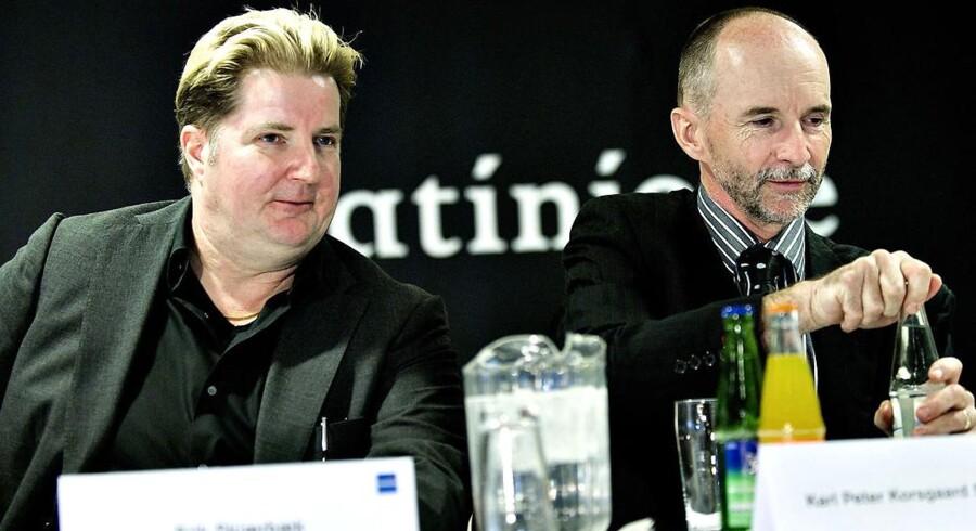 Erik Skjærbæk (tv) og Karl Peter Korsgaard Sørensen menes at sat lagt omtrent 400 mio. kr. i Parken-aktier.
