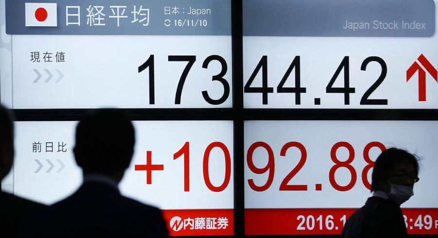 Arkivfoto: De asiatiske aktiemarkeder giver sig tirsdag efter tre dage med solide gevinster. Markedernes håb, om at opsvinget i den globale vækst vil overleve en sandsynlig renteforhøjelse fra den amerikanske centralbanks side, viger til fordel for sikring af de seneste dages gevinster.