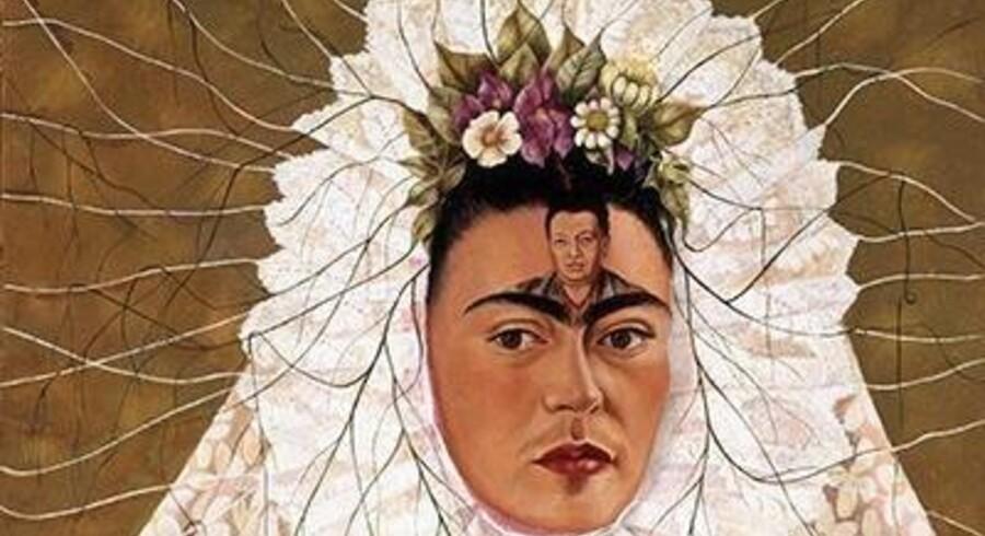 Et af Frida Kahlos mange selvportrætter. »Diego i mine tanker« hedder det – og helt konkret har hun gengivet manden i sit liv på panden af sig selv. Foto: Arken