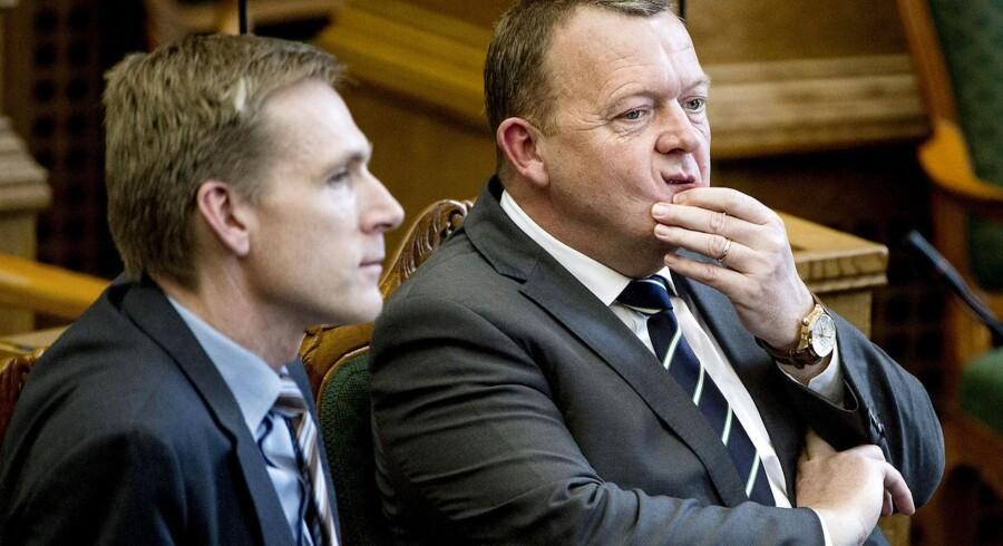 Kristian Thulesen Dahl og Lars Løkke Rasmussen under spørgetimen i Folketinget tirsdag den 24. marts 2015.