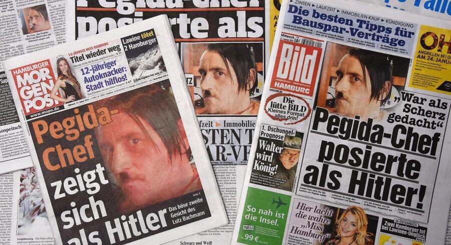 Forsiderne på på de tyske aviser »Hamburger Morgenpost« and »Bild« viser det Hitler-selfie, der nu har fået Pegida-grundlæggeren til at trække sig fra formandsposten.