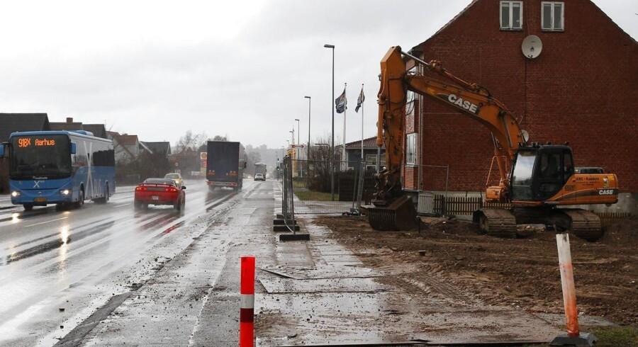 Arkivfoto: Nedrivning af huse på Århusvej i Randers.