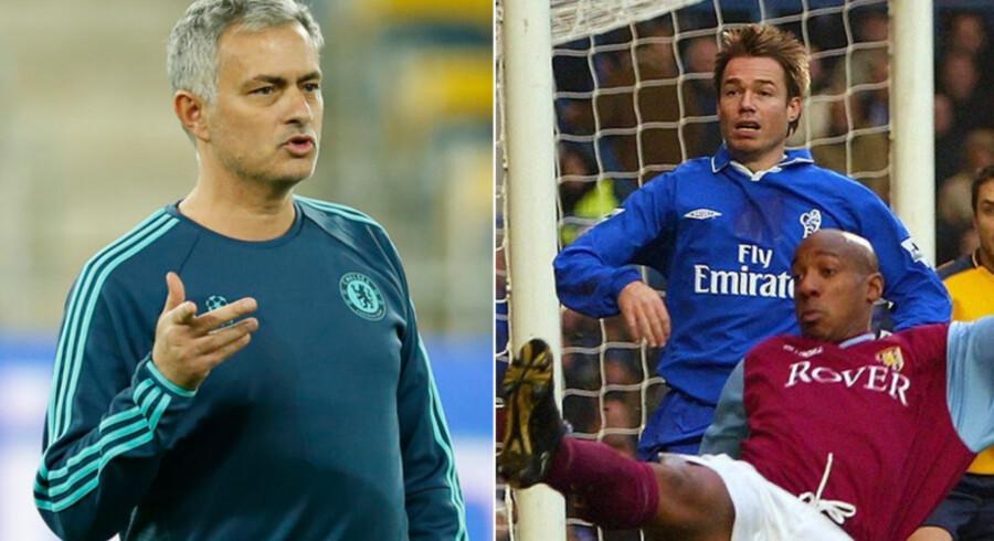 Chelseas manager Jose Mourinho (tv.) giver den tidligere Chelsea-profil Grame Le Saux (th.) tørt på i den engelske avis Daily Star