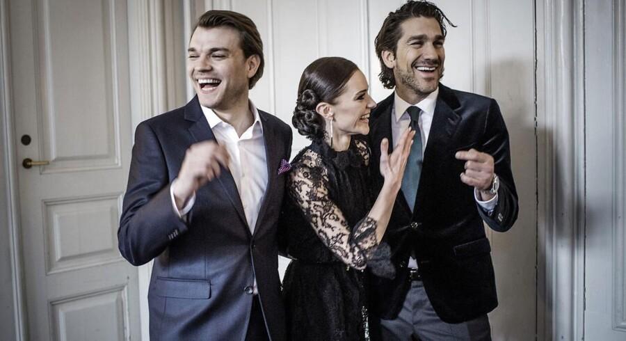 Værterne på årets Eurovision Song Contest er afsløret: Pilou Asbæk (tv), Lise Rønne og Nikolaj Koppel (th) skal sammen sige »Good Evening Europe« i maj ved Eurovision Song Contest i København.