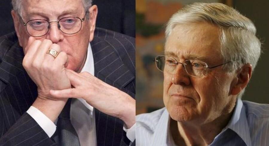 Charles and David H. Koch, hører til blandt de største donorer til konservative organisationer i USA samt til republikanske kandidater. Brødrene rangerer på en delt fjerdeplads over de rigeste amerikanere.