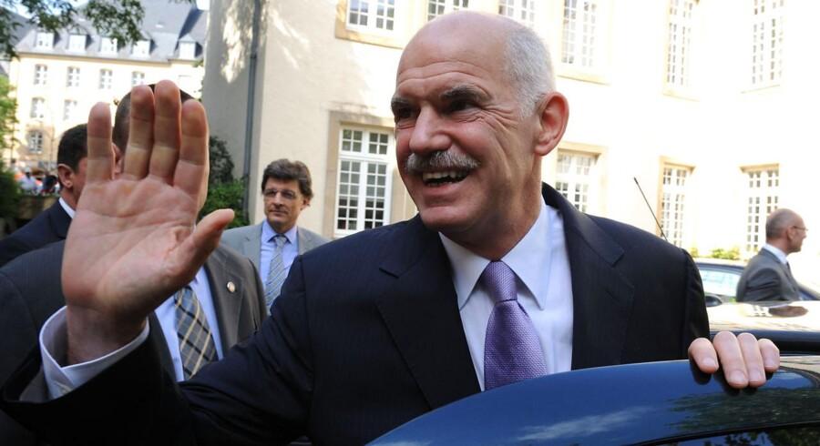 Den græske premierminister George Papandreou efter fredagens forhandlinger.