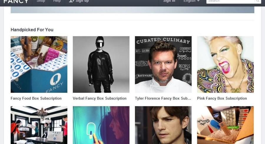 Nettjenesten Fancy, hvor brugerne selv kan dele billeder af produkter, de godt kunne tænke sig, købe dem - og i øvrigt som her på denne del af sitet abonnere på en boks med varer udvalgt af kendte som Ashton Kutcher, Pink og Jennifer Love Hewitt.