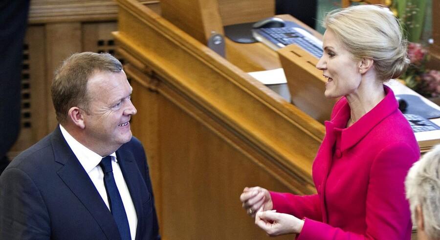 Folketingets åbning 2013 på Christiansborg. Helle Thorning-Schmidt og Lars Løkke Rasmussen i samtale.