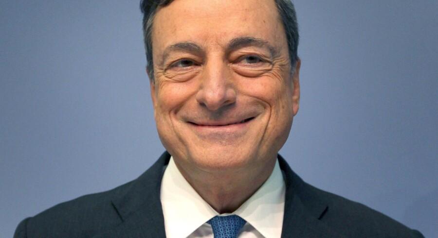 Præsidenten for Den Europæiske Centralbank (ECB), Mario Draghi, kan glæde sig over fremgang i væksten i de fire største eurolande Spanien. Tyskland, Frankrig og Italien. Foto: Daniel Roland/AFP