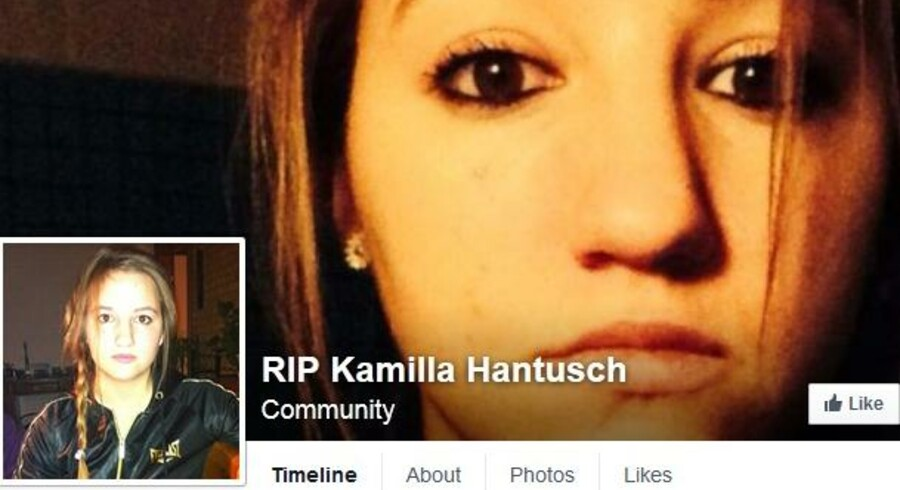 "Screendump fra Facebook-gruppen ""RIP Kamilla Hantusch""."