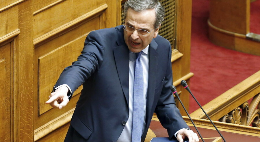 "New Democracy conservative party leader Antonis Samaras points at Greek Prime Minister Alexis Tsipras (not pictured) during a parliamentary session in Athens, Greece June 27, 2015. Tsipras called a referendum on austerity demands from foreign creditors on Saturday, rejecting an ""ultimatum"" from lenders and putting a deal that could determine Greece's future in Europe to a risky popular vote. REUTERS/Yannis Behrakis TPX IMAGES OF THE DAY"
