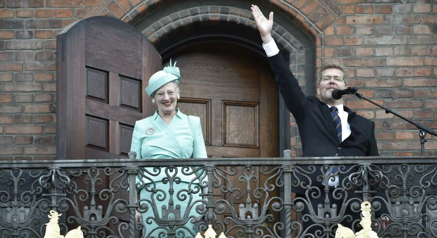 Dronning Margrethe bliver modtaget på Københavns Rådhus, hvor der afholdes frokostreception i anledning af hendes fødselsdag, torsdag den 16. April 2015.