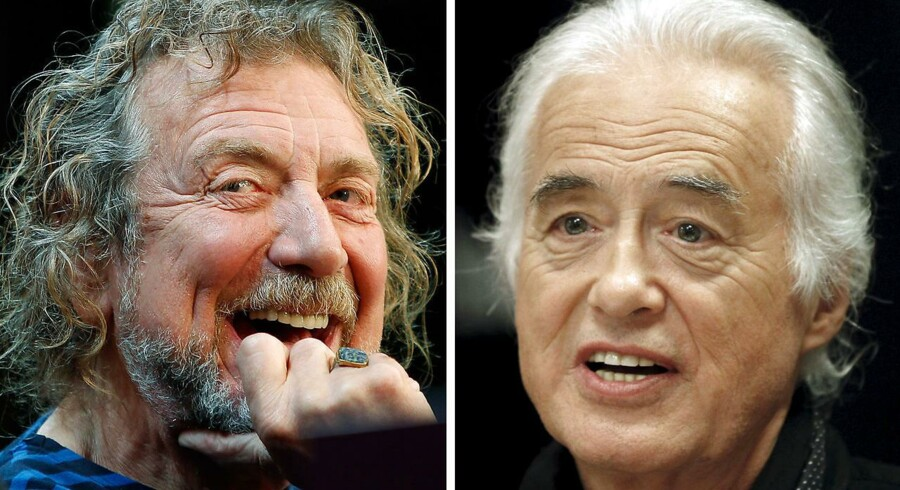 "Robert Plant (tv) og guitarist Jimmy Page fra bandet Led Zeppelin anklages for at have stjålet dele af ""Stairway to Heaven""."