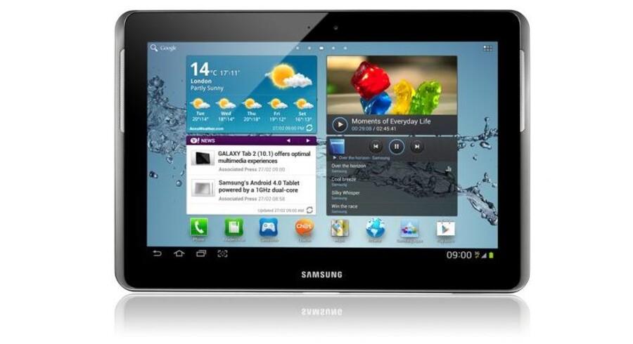 Samsungs nye Galaxy Tab 2-tavlecomputere kommer i to udgaver: en på 10,1 tommer (billedet), en anden på 7 tommer. Foto: Samsung