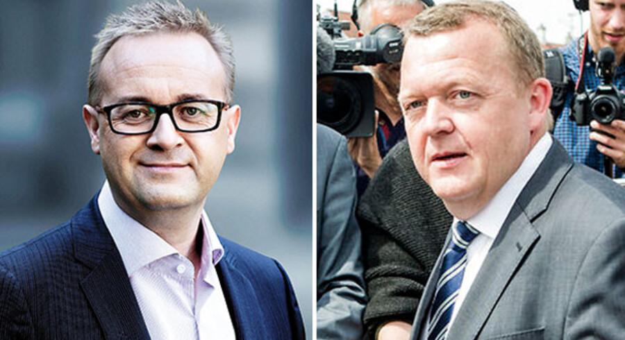 Venstres medlem af byrådet i Solrød, Bo Nygaard Larsen, ønsker at Lars Løkke Rasmussen skal forlade posten som formand for partiet. (Foto: Venstre og Nikolai Linares)