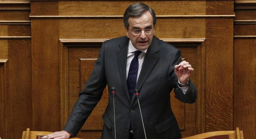 Grækenlands premierminister Antonis Samaras under afstemningen om budgettet.