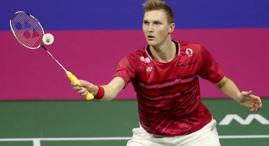 Viktor Axelsen skal i finalen ved EM i badminton møde englænderen Rajiv Ouseph. Scanpix/Jane Barlow