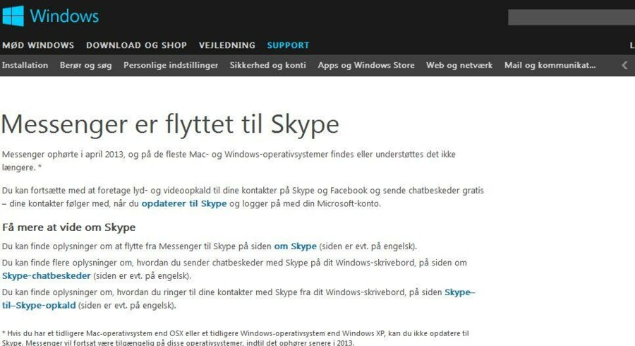 Microsoft lukker nu sin Messenger-tjeneste og tvangsflytter alle brugerne over på Skype, som den amerikanske softwaregigant købte i oktober 2011.