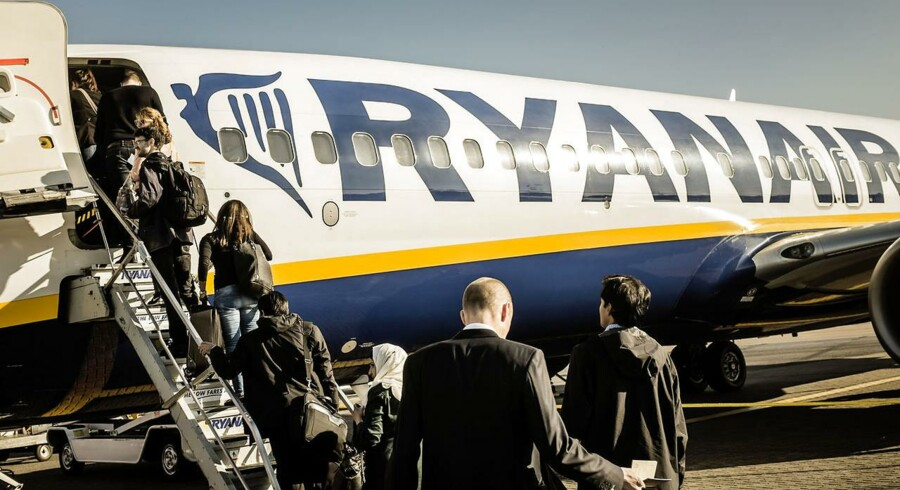 Danske Ryanair-kunder kan blive tvunget til at ombooke til andre flyselskaber, hvis fagforeningerne blokerer for de irske fly. Arkivfoto.