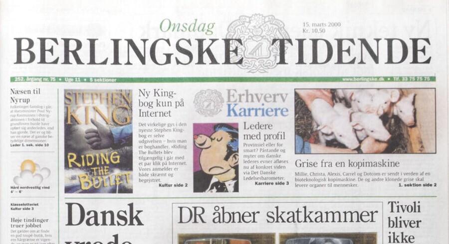 Berlingske Tidendes forside 15. marts 2000. Samme år blev koncernen bag avisen solgt til norske Orkla.