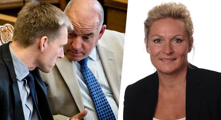 Kristian Thulesen Dahl og Søren Espersen i fortrolig samtale. DF-ledelsen er ikke interesseret i at blive til grin, fordi lokale DF-politikere sagsøger hinanden. Derfor blev Vivi Jensen ekskulderet af partiet.