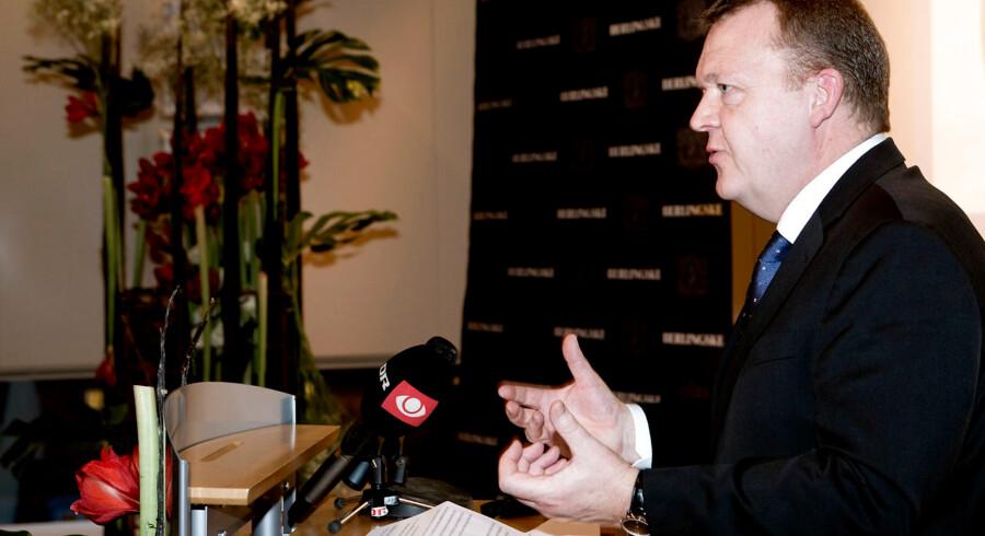 Berlingske Fonds prisuddeling i konferencesalen hos Berlingske Media i Pilestræde i København d.7.januar 2014. Venstres formand Lars Løkke Rasmussen taler. (Foto: Linda Kastrup/Scanpix 2014)