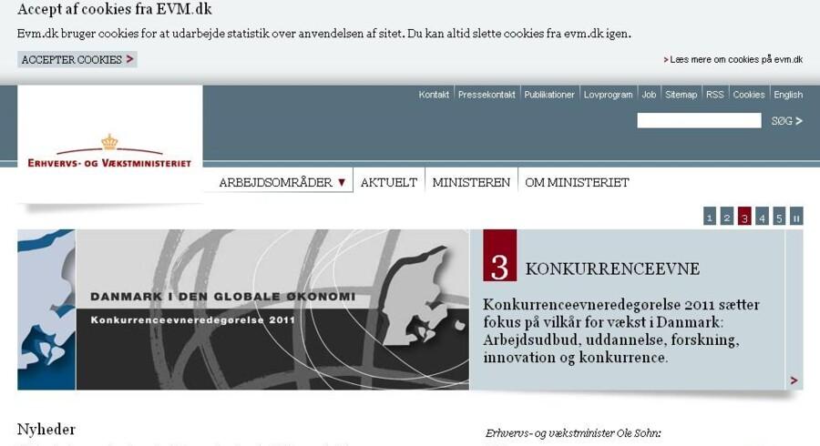 Erhvervs- og vækstministeriet skilter fra i dag tydeligt med, at ministeriets netsted lægger små, kodede beskeder (cookies) på den besøgendes computer eller mobiltelefon. Det skal alle andre danske netsteder - uden undtagelse - nu også gøre ... og kunne fortælle, hvem der bruger oplysningerne og hvordan.