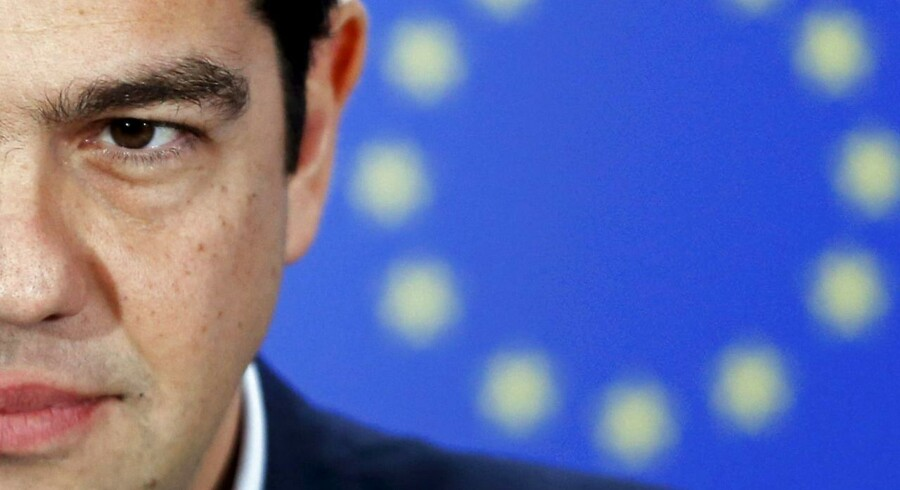 Greek Prime Minister Alexis Tsipras addresses a news conference after meeting European Parliament President Martin Schulz (not pictured) at the EU Parliament in Brussels, Belgium in this February 4, 2015.