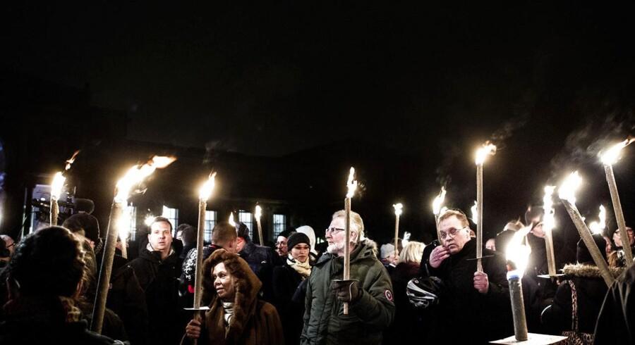 Anti-islam-demonstranter i København mandag 19. januar.