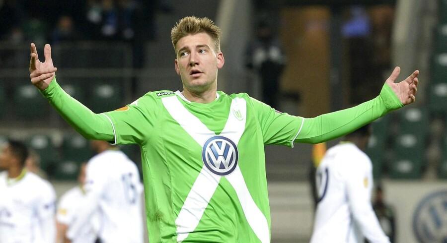 ARKIVFOTO 2014 af Wolfsburg's Nicklas Bendtner under træning.