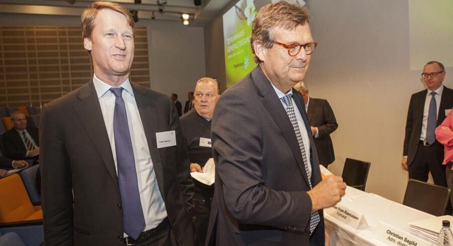 Densvenske forsikringskoncern Ifs adm. direktør, Torbjörn Magnusson (tv.), ernyvalgt til Topdanmark-bestyrelsen. Til højre formanden Michael Pram Rasmussen