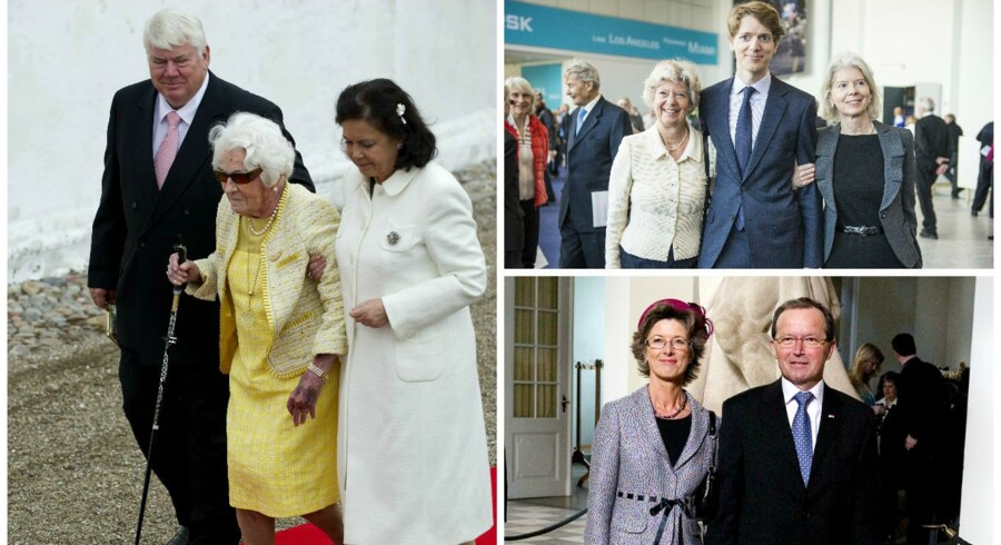 Fra venstre: 2. generation af familien Clausen, der står bag Danfoss, var den 7. rigeste familie i 2014. Til højre øverst: Mærsk-familien (3. generation) var den 6. rigeste familie i 2014 med en personlig formue på 13.5 milliard. Nederst: Lego-familien Kirk Kristiansen (her er det 3. generation), var den rigeste familie i Danmark i 2014 med en samlet formået på 97.600.000.000 kroner.