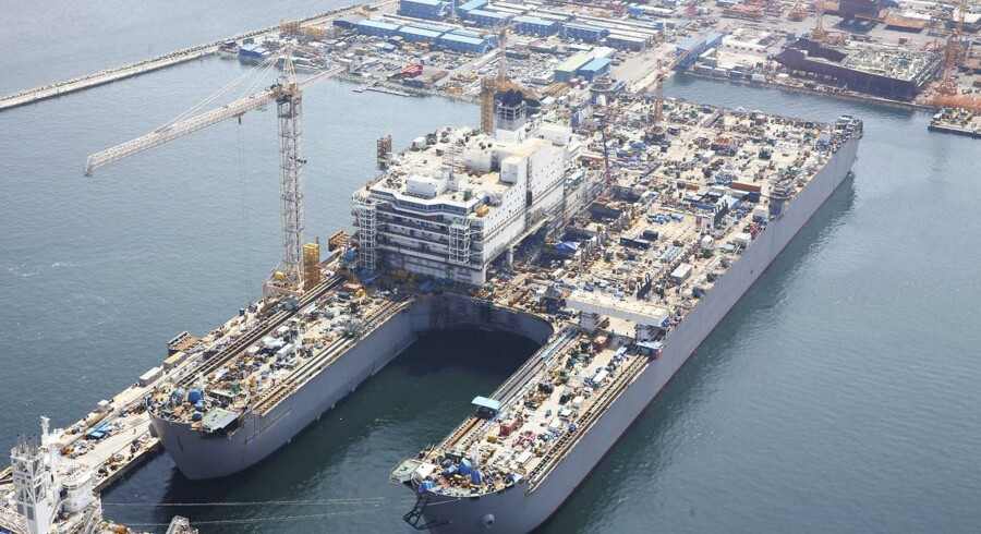 The platform installation/decommissioning and pipelay vessel Pieter Schelte is constructed at the Daewoo shipyard in Okpo, about 335 km (208 miles) south east of Seoul in this August 25, 2013 handout photo from Allseas engineering group. The giant catamaran strong enough to lift four Eiffel Towers will set off from a South Korean shipyard next year with the task of decommissioning North Sea oil rigs - a $3 billion bet that bringing derelict platforms ashore can be a profitable business. Picture taken August 25, 2013.