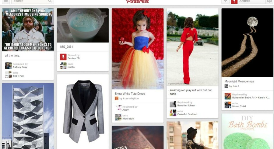 Den sociale, digital opslagstavle, hvor brugerne deler såkaldte pins - eller link til ting på nettet, de synes godt om, begynder nu at eksperimentere med annoncekoncepter. Foto. Skærmdump pinterest.com