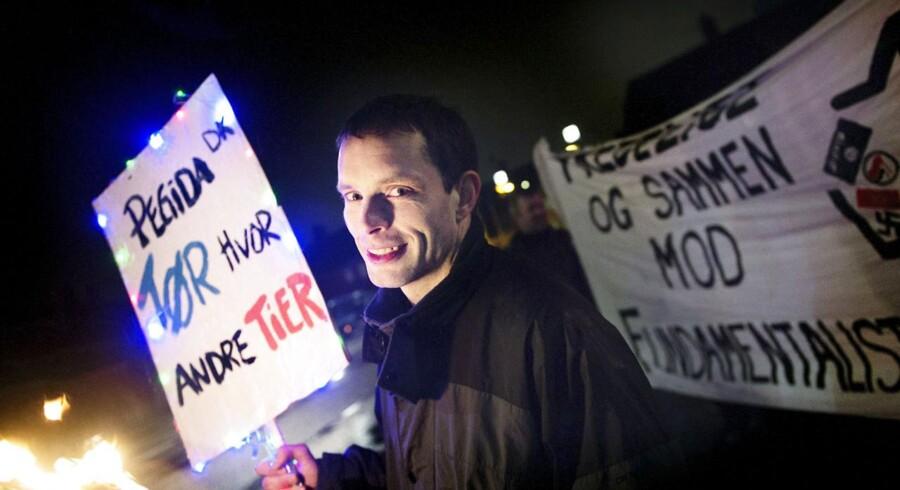 Pegida-talsmand Nicolai Sennels under en demonstration i København tidligere på måneden.