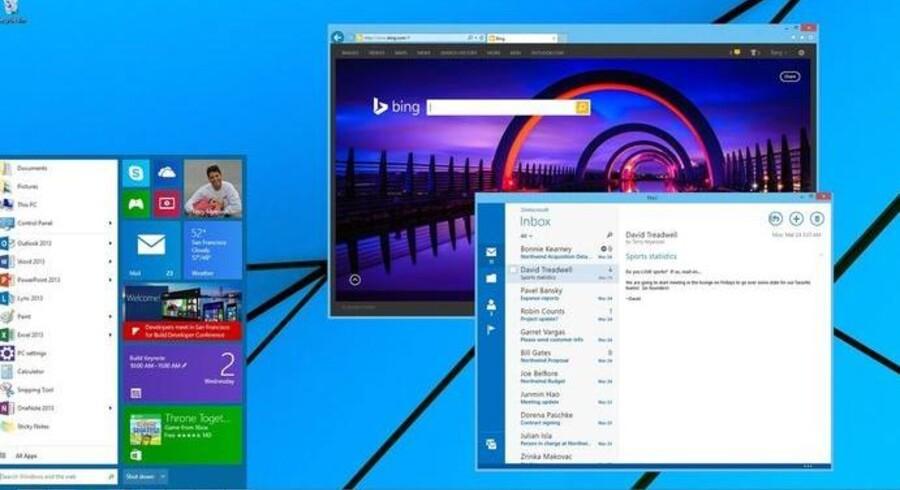 Windows 9, som kommer i foråret 2015, får startmenuen tilbage, og de mange applikationer, som er særligt designet til Windows 8, vil fremover kunne køre i almindelige vinduer som andre programmer. Sådan så Windows 9 ud, da Microsoft i april fremviste styresystemet på sin Build-udviklerkonference.