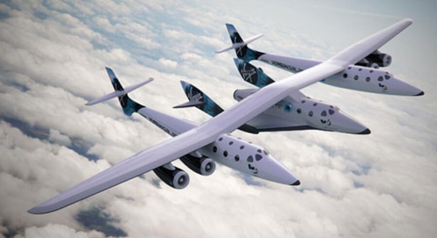 Dette er SpaceShipTwo, som vil fragte de, måske, kommende danske rumturister afsted.