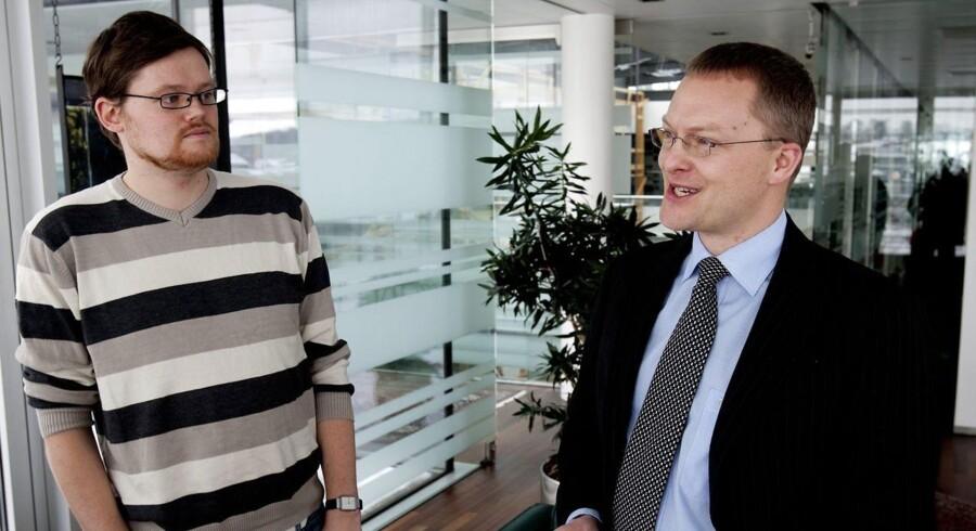 Klaus Skjødt (th.) kritiserer Nordea-chef Christian Clausen.»Vi har ikke et ensidigt fokus på at skulle ud og forgylde vores aktionærer«, siger han.