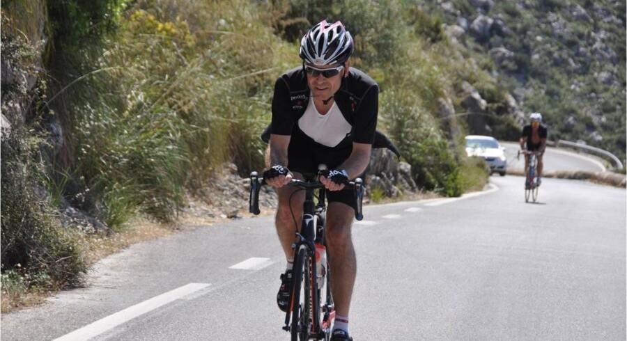 Matas-direktør Terje List rejste i hemmelighed til Mallorca for at deltage i et cykelløb midt under processen med at børsnotere Matas. Her er han 13. juni på vej op ad den frygtede stigning Sa Calobra, også kaldte »hullet«. Privatfoto.