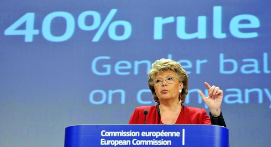 Det er EU-kommissær Viviane Reding, der oprindeligt fremsatte et forslag, som i første omgang krævede, at alle børsnoterede virksomheders bestyrelser i EU skal bestå af mindst 40 procent kvinder.