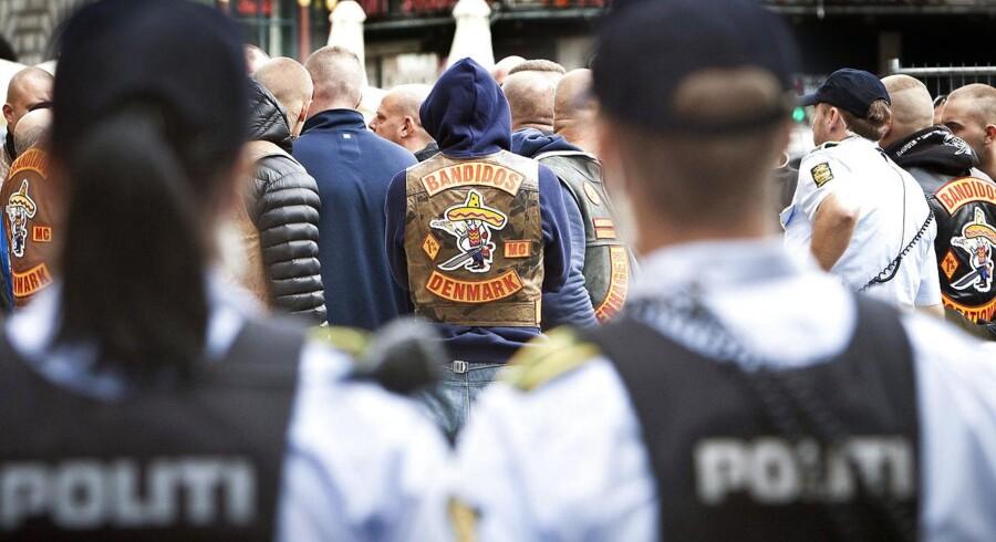 Arkivfoto. Rocker retssag i byretten i København. Bandidos rockere udenfor retten.
